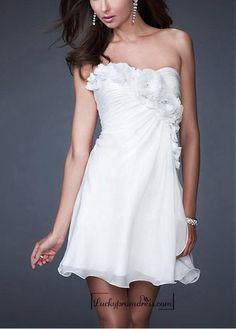 Beautiful Silk-like Chiffon Strapless Floral Detail Homecoming Dress : LuckyPromDress.com, Cheap Wedding Dresses Online.