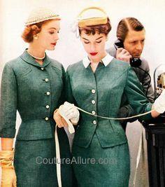Image result for vintage green fleck tweed woman