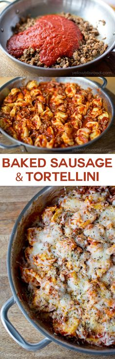 Baked Sausage and Tortellini - Cooks in one pan and is ready in under 30 minutes
