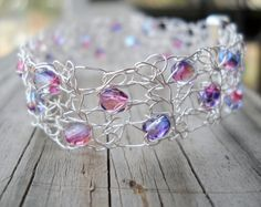 Pink Purple and Silver Wire crochet crystal by MegsCrochetJewels, $28 #dteam