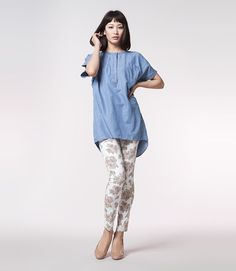 denim onepiece and #floral jeggings from g.u. #japan #fashion #uniqlo