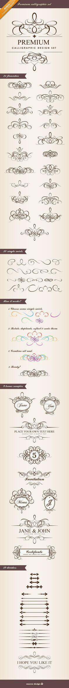 Premium Calligraphic Design Set by Mocca Design.