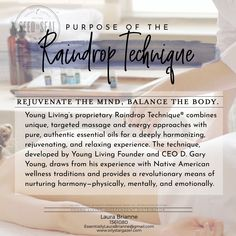 Helpful Aromatherapy Massage Techniques For raindrop massage health Young Living Oils, Young Living Essential Oils, Essential Oil Blends, Raindrop Technique, How To Calm Nerves, Massage Treatment, Massage Benefits, Health Benefits, How To Treat Anxiety