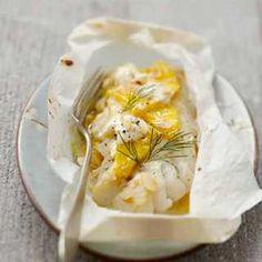 Recette : Papillotes de cabillaud à la mangue et fromage frais - Recette au from...