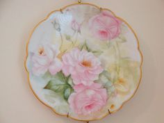 Limoges France Hand Painted Antique French Set of 4 Plates Roses
