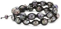 Amazon.com: Jordan Alexander Men's Tahitian Pearl Twist with Diamond Bead Bracelet: Jewelry