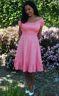 Women's SML Dress Coral Polka Dot by HotRodJohnnyDesigns on Etsy, $32.00