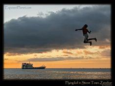 Flying kid Zanzibar Stone Town