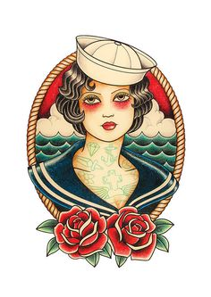 PRINT SAYLOR GIRL TATTOO  Foil printed on paper of high quality 350 gr. Sizes 210 mm. x 297 mm. (8, 3¨ x 11, 7¨)  Illustration of sailor-inspired tattoos Old School made by hand with pencil on paper.  Each blade is hand signed by the front, stamped and dated at the back.  It is recommended to protect from direct sun.  To see more visit: www.crixtina.com