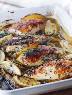 Ina's baked lemon chicken. SO good and easy and is the perfect meal for entertaining.