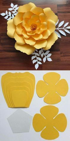 Magic - ideas of creativity and decor, needlework Paper Flower Patterns, Paper Flowers Craft, Large Paper Flowers, Paper Crafts Origami, Paper Flower Wall, Paper Flower Tutorial, Giant Paper Flowers, Paper Roses, Flower Crafts