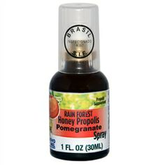 The rainforest honey propolis spray is a combination of Brazilian rainforest honey, propolis, and natural flavoring. Propolis is an all natural material created by bees from tree buds, sap flows, or other botanical sources. Propolis has a long history of medicinal use, dating back to 350 B.C. , the time of Aristotle. It is used for canker sores, sore throats, boosting the immune system, and as an antioxidant and anti-inflammatory agent.