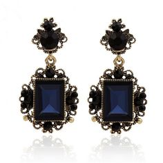 New fashion dark blue color big crystal vintage drop earrings for women dangling earrings brincos grandes party accessories - V-Shop