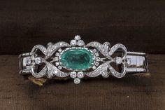 Online veilinghuis Catawiki: Gouden armband met smaragd en diamanten