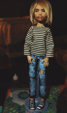 Monster High Deuce Gorgon Repaint Ooak Kurt Cobain Nirvana Custom Doll #Mattel
