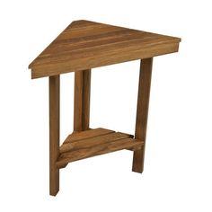 Mini Teak Corner Shower Bench with Shelf Plantation Teak #TEAKWORKS4U