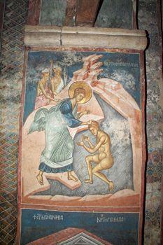 Philip baptizes the Ethiopian eunuch, Decani Monastery, Kosovo, century. Byzantine Icons, Byzantine Art, Tempera, Fresco, Church Interior, Orthodox Icons, Mural Painting, 14th Century, Scene