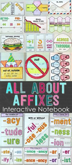 Teach prefixes and suffixes in a meaningful and engaging way! Your students will love learning affixes with this hands-on resource. Included are 25 Interactive Notebook activities that will help your students understand the meaning of several words related to over 85 different affixes. $ by leila