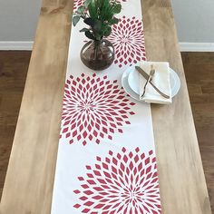 Your place to buy and sell all things handmade Modern Table Runners, Lace Table Runners, Modern Christmas, Christmas Holidays, Stenciled Table, Fabric Paint Designs, Fabric Stamping, Printing On Burlap, Wood Stamp