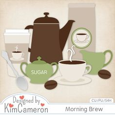 Morning Brew - Mocha Java Coffee - Layered PSD Templates with PNG by Kim Cameron for Digital Scrapbooking #CUDigitals