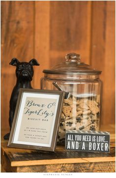 Boxer Dog Biscuit Bar   A Romantic Navy & Gold Wedding at The Silos, Arkansas