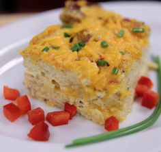 Easy Breakfast Casserole   An easy, one-dish hearty Breakfast Casserole, filled with tender turkey sausage, peppers and onions. Prepare it ahead and pop in the oven for a healthy breakfast the whole family will love.