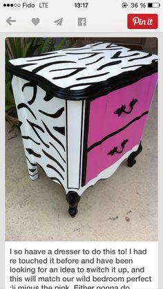 Zebra print dresser