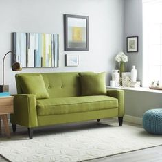 Clay Alder Home Pope Street Apple Green Linen Sofa Living Room Green, Formal Living Rooms, Living Room Sofa, Apartment Living, Living Room Furniture, Apartment Furniture, Sweet Home, Green Sofa, Room Colors