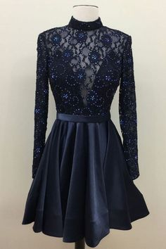 Dark blue lace short prom dress, lace cute homecoming dress