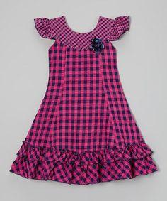 Look at this #zulilyfind! Pink & Navy Gingham Ruffle Dress - Toddler & Girls by Roberto Toscani #zulilyfinds
