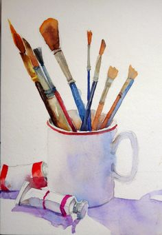 watercolor print of watercolor brushes in coffee cup