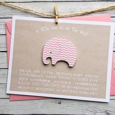 pink chevron baby shower invite  diecut by graciegirlnotes on Etsy, $20.00
