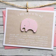 pink chevron baby shower invite diecut by graciegirlnotes on Etsy, $20.00