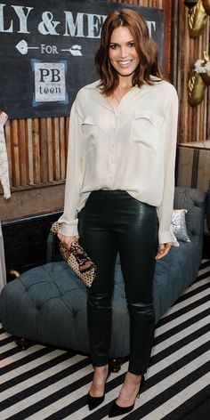 Mandy Moore at the Emily and Meritt for PBteen launch event in Los Angeles, wearing L'Agence top, The Row Stretch-Leather Leggings, Newbark clutch and Manolo Blahnik BB Suede Pumps