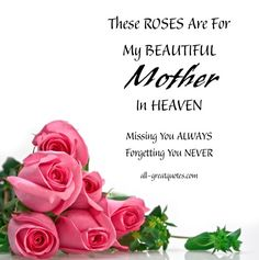 In Loving Memory Cards For Mother | ROSES For My BEAUTIFUL Mother In HEAVEN