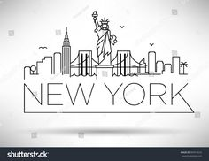 Linear New York City Skyline with Typographic Design