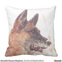 Beautiful German Shepherd in the Snow Throw Pillow
