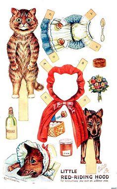 """Little Red Riding Hood"" Paper Dolls - Louis Wain"