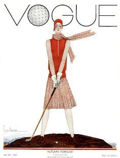 Vintage Golf, Vintage Art, Thema Golf, Pinturas Art Deco, Vintage Vogue Covers, Golf Art, Vogue Magazine Covers, Golf Fashion, Ballet Fashion