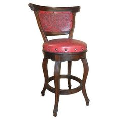 New World Trading Spanish Swivel Bar Stool with Cushion (Set of 4) Upholstery: