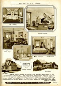 daily bungalow >> 1928 sears catalog puritan interior Colonial Architecture, Architecture Design, Vintage House Plans, Vintage Houses, Dutch Colonial Homes, Arts And Crafts Interiors, 1920s House, Kit Homes, Old Houses