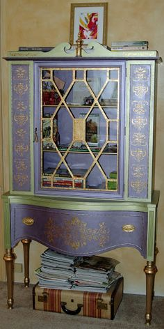Vintage China Cabinet. Hand Painted with metallic paint and gold leaf stencil