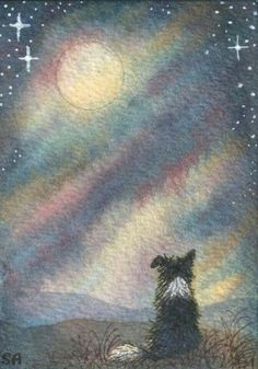 Border Collie dog print sheepdog landscape I see the moon communing with moon night sky from Susan Alison watercolor painting Missing our shep 20 yrs remernising seeing collie dogs reminded me off him xx Border Collie Art, Silhouette Tattoos, Herding Dogs, Collie Dog, Dogs Of The World, Sheltie, Dog Names, Dog Art, Dog Life