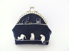 Coin purse Indigo Midnight Navy blue White cat Frame purse Kawaii Japanese fabric. €13,00, via Etsy.