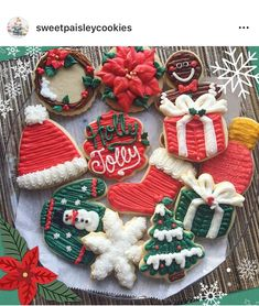 Christmas Sugar Cookies, Christmas Snacks, Christmas Cooking, Christmas Goodies, Holiday Cookies, Christmas Candy, Buttercream Frosting Cookies, Buttercream Decorating, Cookie Decorating