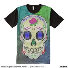 Yellow Sugar Skull with Purple Rose