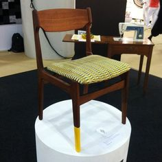 Midcentury-Style Chair by Yinka Ilori - it's got one yellow sock.