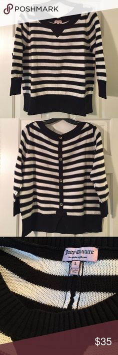 Juicy Couture Striped Sweater. Juicy Couture Striped Sweater. Black and white striped sweater; three-quarter sleeves; gold button detailing down back. 100% cotton. Juicy Couture Sweaters Crew & Scoop Necks