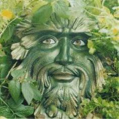 Greenman with charming face, smiling