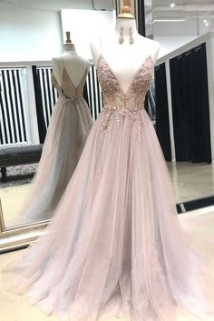 Pink v neck tulle lace beads long prom dress from Seven Grils V Neck Prom Dress, Prom Dress Long, Prom Dresses, Lace Prom Dress, Prom Dress Pink Prom Dresses Long Blush Prom Dress, Pink Evening Dress, Beaded Prom Dress, Tulle Dress, Lace Dress, Evening Dresses, Tulle Lace, Dress Prom, Dress Long